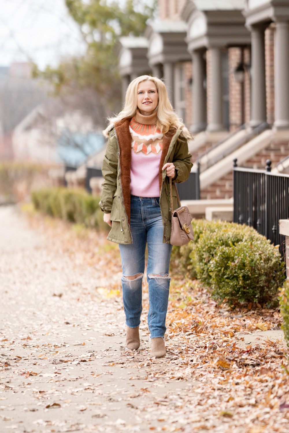Petite Fashion Blog | Grace Karin Hooded Fleece Lined Parka | J. Crew Fair Isle Sweater | Vince Camuto Gigetta Bootie