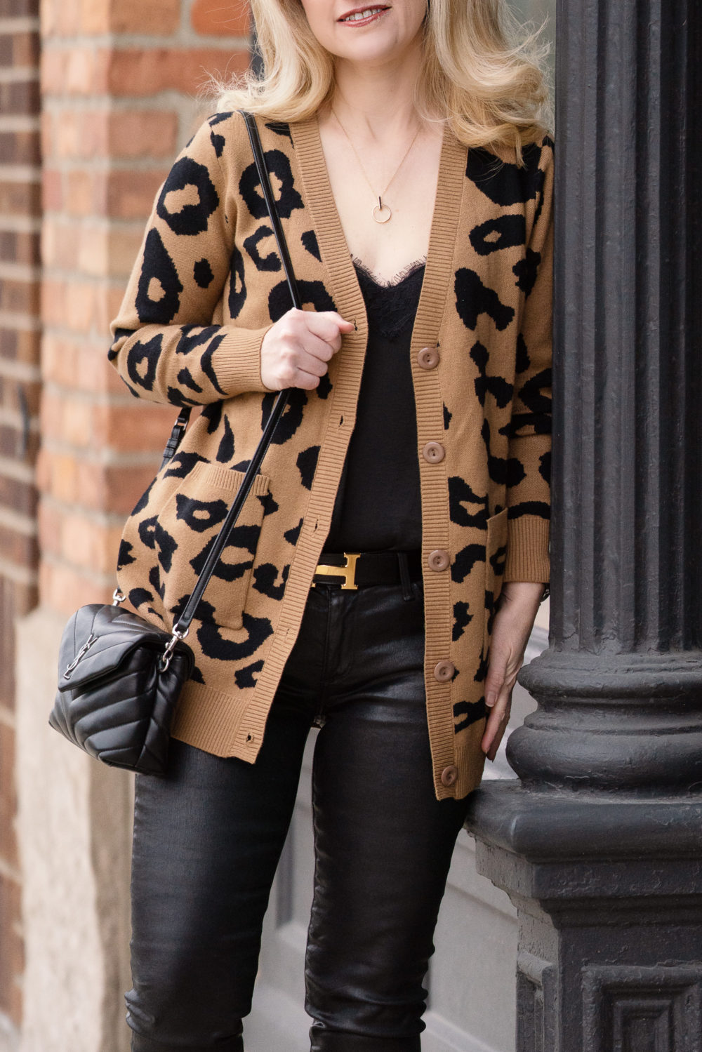Petite Fashion Blog | Grace Karin Leopard Cardigan | Hermes Belt | AG Faux Leather Jeans | Stuart Weitzman Booties