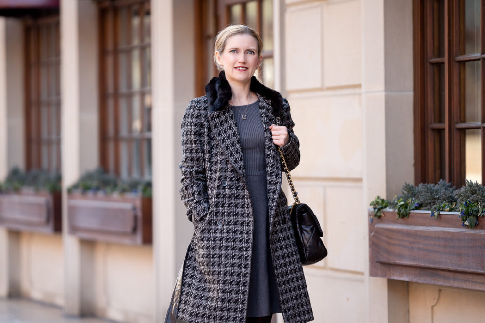 Petite Fashion Blog   Lark & Ro Women's Long Sleeve Ribbed Crewneck Fit and Flare Sweater Dress   Via Spiga-Tied Houndstooth Faux Fur Collar Double-Breasted Coat   Aquatalia Boots   Chanel 19 Bag