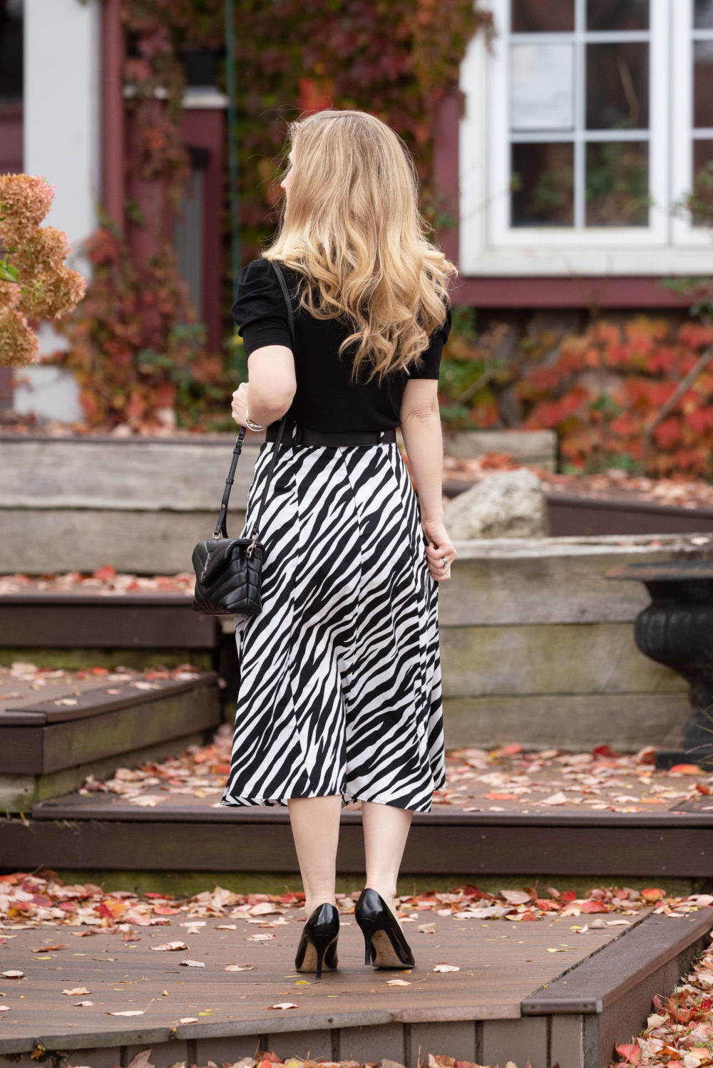Petite Fashion Blog | Walter Baker Zebra Print Skirt | CeCe Puff Sleeve Crepe Top | Gucci Pearl Belt