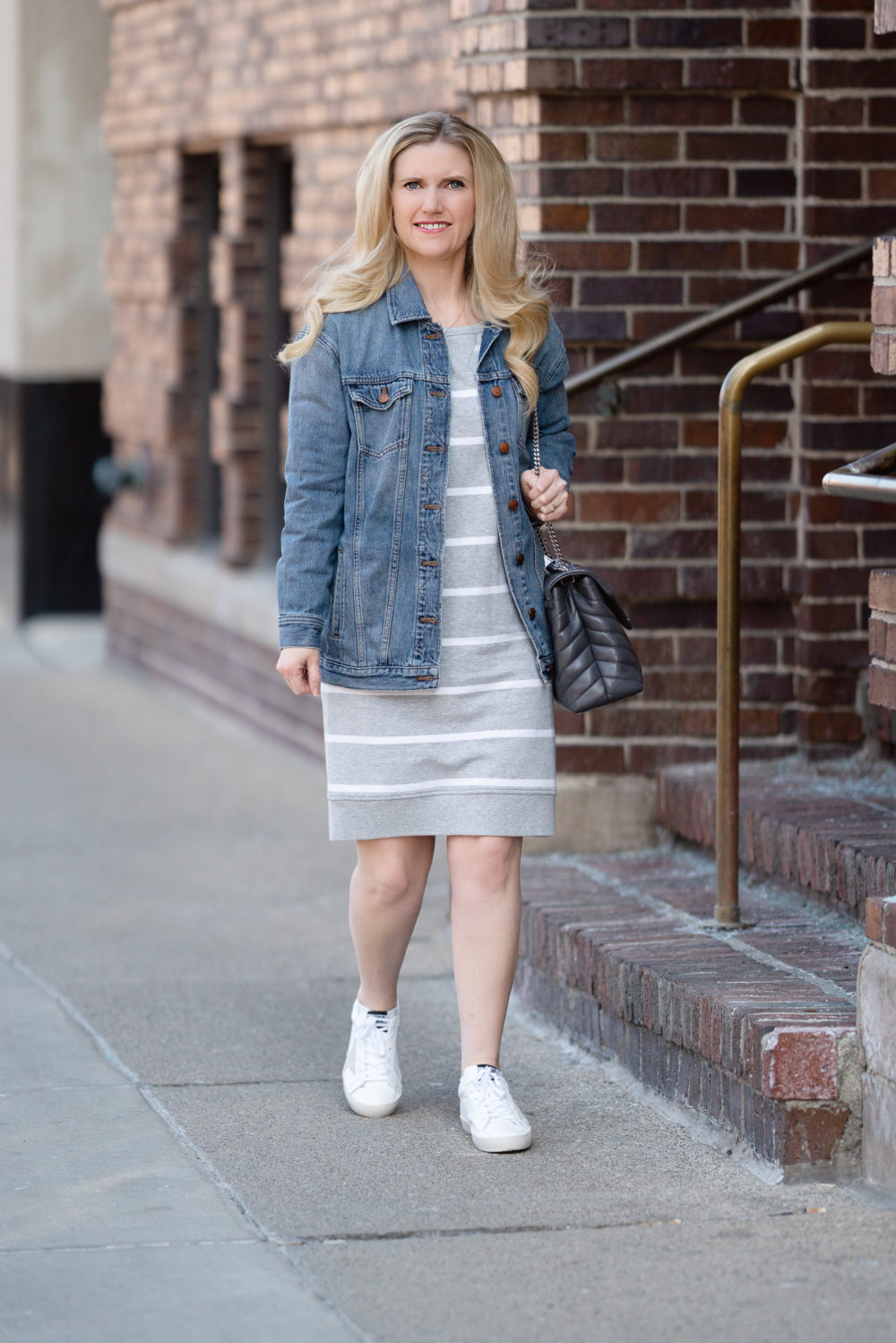 Petite Fashion Blog | Amazon Goodthreads Women's Modal Fleece Popover Sweatshirt Dress | Madewell Denim Jacket | Golden Goose Sneakers