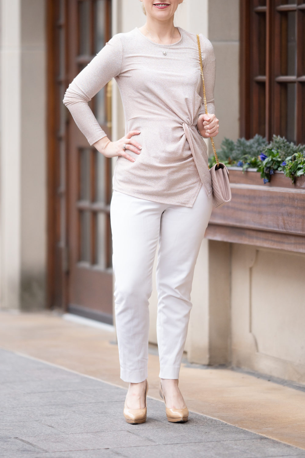 Petite Fashion Blog | Karen Kane Shimmer Twist Front Top | WHBM Comfort Stretch Slim Ankle Pants