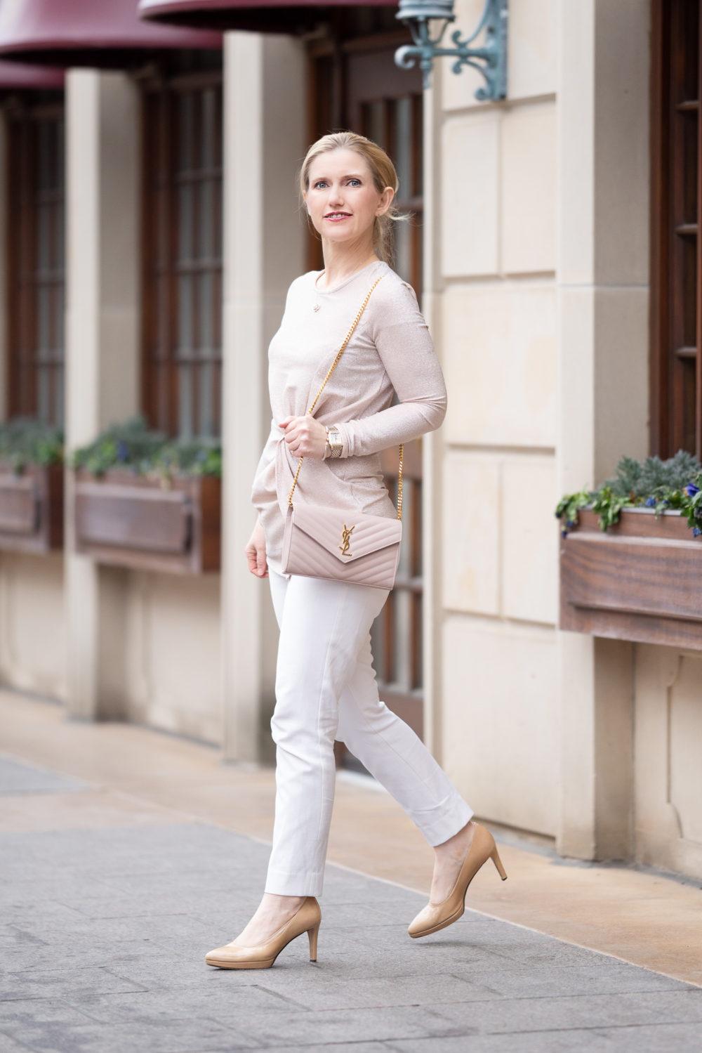 Petite Fashion Blog | Karen Kane Shimmer Twist Front Top | WHBM Comfort Stretch Slim Ankle Pants