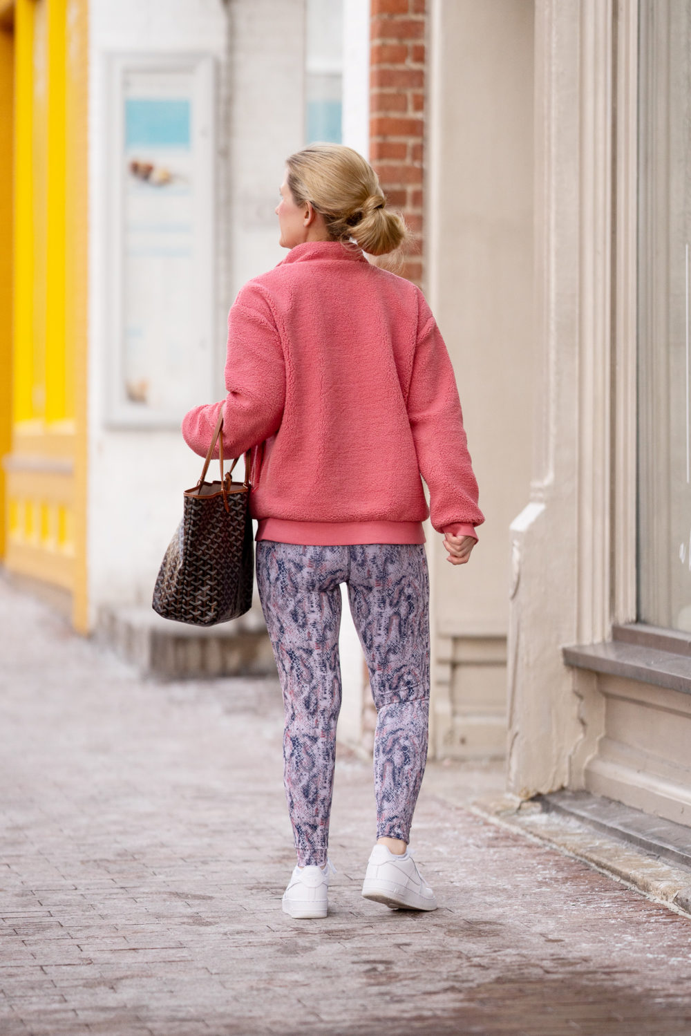 Petite Fashion Blog | Peach Faroe Sherpa Jacket | Peach Reversible Leggings