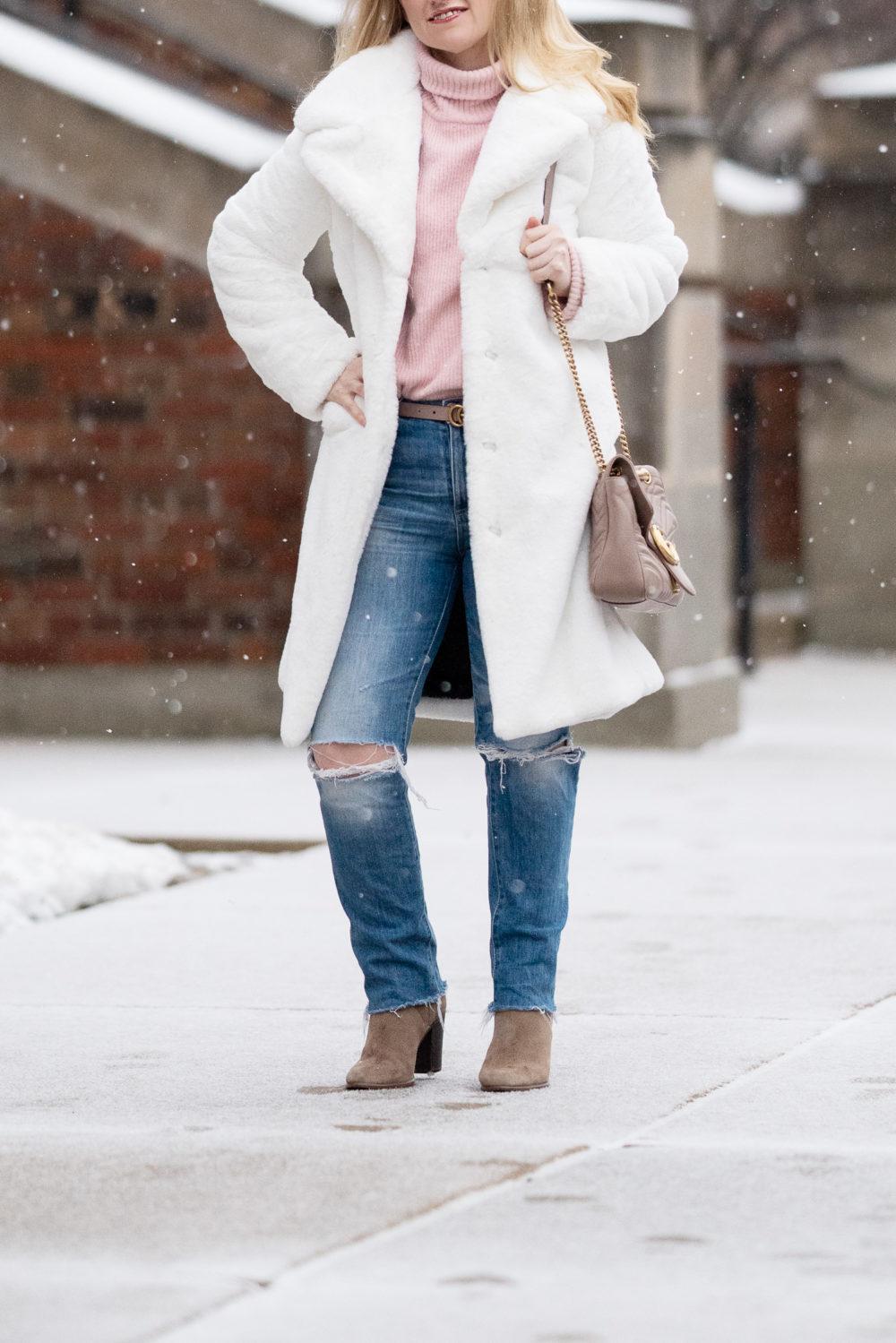 Petite Fashion Blog | White Fur Coat | Avec Les Filles Faux Fur Coat | Gucci Marmont Bag
