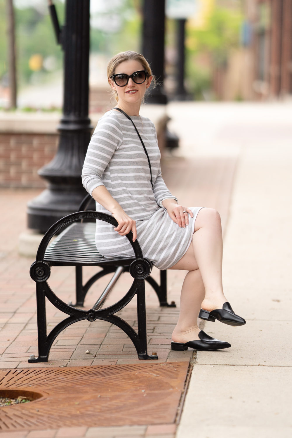 Petite Fashion Blog | Amazon Essentials Women's 3-4 Sleeve Boatneck Dress | Cole Haan Black Mules